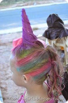 Did unicorn hair for Halloween! - Did unicorn hair for Halloween! Did unicorn hair for Halloween! Crazy Hair For Kids, Crazy Hair Day At School, Crazy Hat Day, Crazy Hair Day Girls, Little Girl Hairstyles, Hairstyles For School, Cute Hairstyles, Toddler Hairstyles, Girl Haircuts