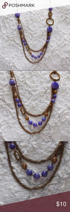 Long Dangle Necklace Purple and gold stone necklace that hangs low. Jewelry Necklaces