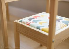 Ikea LATT Hack  - we added chevron cushioning to the seats and plexiglass to the table top!