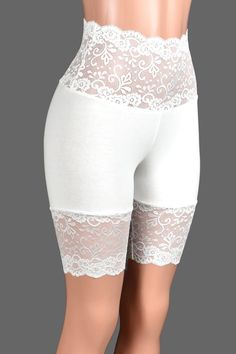 Wide Waistband Ivory or White Stretch Lace Shorts XS S M L XL | Etsy Lace Trim Shorts, White Shorts, Hip Bones, Stretch Lace, High Waisted Shorts, Cotton Spandex, White Lace, Plus Size, Ivory