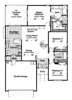Ranch House Plan First Floor for Home Plan also known as the Palm Beach Florida Home from House Plans and More. House Plans And More, New House Plans, Small House Plans, Ranch Home Floor Plans, House Floor Plans, Ranch House Additions, Vaulted Ceiling Bedroom, Mediterranean Design, Contemporary House Plans