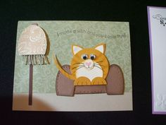 handmade greeting card .. adorable punch art cat on a sofa ... luv it! ... Stampin' Up!