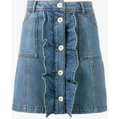GANNI Mini Denim Skirt ($151) ❤ liked on Polyvore featuring skirts, mini skirts, blue denim skirt, short skirts, blue mini skirt, a-line skirt and button front a line skirt