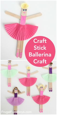 Craft Stick Ballerina Craft - Frugal Fun For Boys and Girls - - Make some adorable ballerinas out of craft sticks, cupcake liners, and other simple supplies. Draw on their cute ballet shoes. Fun craft for kids! Fun Crafts For Kids, Craft Stick Crafts, Art For Kids, Diy And Crafts, Craft Sticks, Craft Ideas For Girls, Toddler Paper Crafts, Creative Ideas For Kids, Diy Paper Crafts