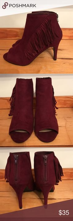 ❤️V-day Special ❤️Open-toe fringe booties Fall in love with fall again with these cute faux suede bootie available in the color wine. Open toe with fridges on the side for a little more detail. new directions Shoes Ankle Boots & Booties