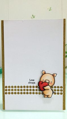 MFT Hog Heaven stamp set, Paper Smooches Polka Dot Borders Die set, sentiment from mini tag sentiments by Our Daily Bread Designs - simply one of the best mini sentiment sets out there! Too bad the shine from the golden glitter washi tape isn't captured.