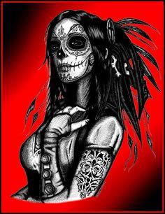 Priestess by Josh Stebbins Gothic Death Mask Woman Canvas Art Print
