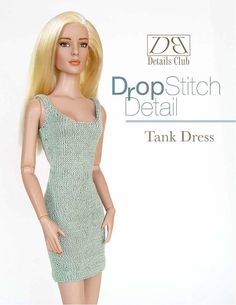 Knitting pattern for 16 inch fashion dolls: Tank Dress