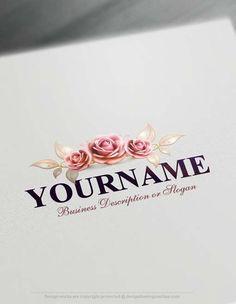 Create a logo Free - Vintage flower Logo Template | Flower logo ...