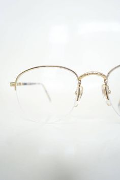 1d98261b17 1980s Round Glasses Womens Gold Wire Rim Frames Deadstock Vintage 80s Geek  Chic Nerdy Sexy Librarian Eighties Classic NOS
