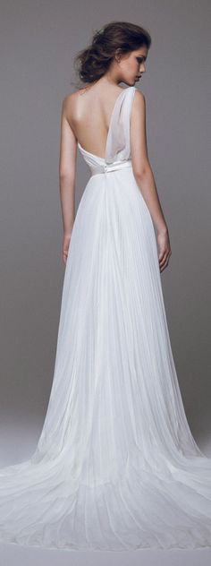 blumarine 2015 #bridal one shoulder pleated #wedding dress back view train #weddingdress #weddings