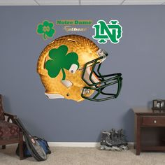 Notre Dame Fighting Irish: Shamrock Helmet... Chris' play room!
