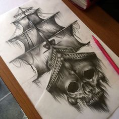 how to draw designs Navy Tattoos, Skull Tattoos, Leg Tattoos, Body Art Tattoos, Tattoo Drawings, Sleeve Tattoos, Pirate Tattoo Sleeve, Nautical Tattoos, Flash Tattoos