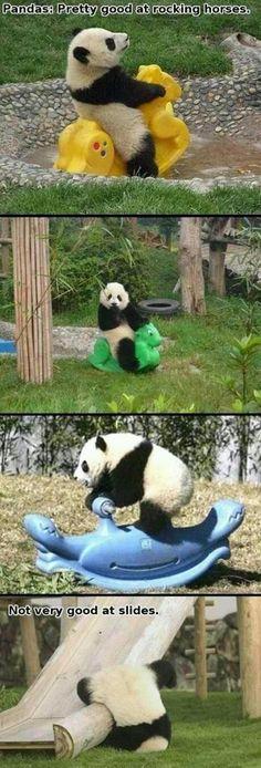 Pandas: good at rocking horses, not so good at slides things-that-make-me-laugh