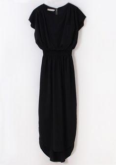 Black Irregular Short Sleeve Pockets Chiffon Dress