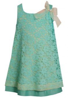 Amazon.com: Bonnie Jean Little Girls 4-6X Aqua-Blue and Yellow Lace Overlay Dress: Clothing