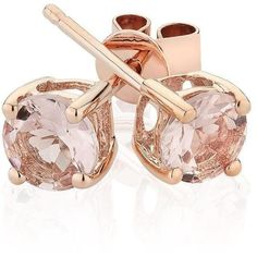 Reeds Morganite Stud Earrings (6,320 THB) ❤ liked on Polyvore featuring jewelry, earrings, accessories, brincos, jewels, reeds jewelers, stud earrings and earring jewelry