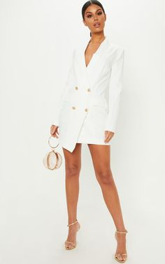 Rihanna Wore a White Blazer Mini Dress to Launch Her Fenty Fashion Line Looks Chic, Looks Style, Black Women Fashion, Look Fashion, Estilo Casual Chic, Dress Outfits, Fashion Outfits, White Blazer Outfits, White Dress Outfit