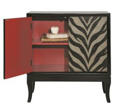 Zebra animal print ivory black chest/cabinet (interior view) Accentrics Home by Pulaski | The Decorating Diva, LLC