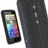 iGadgitz Black Silicone Skin Case Cover with Tire Tread Design for HTC Evo 3D Android Smartphone Cell Phone + Screen Protector - iGadgitz Black Silicone Skin Case Cover with Tire Tread Design for HTC Evo 3D Android Smartphone Cell Phone + Screen Prot