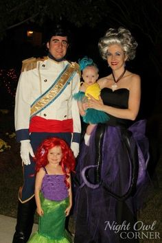 Ariel, Flounder, Prince Eric and Ursula - Halloween costume idea! via Night Owl Corner