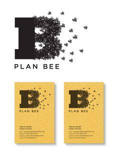 """plan bee logo cards   Es una imagen simbólica porque tiene una parte icónica y otra convencional que se unifican originando una colmena en forma de """"B"""" y que se traduce en un mensaje distintivo, el de trabajar con abejas."""