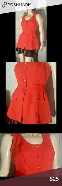 """Vintage Funky 70s Montgomery Ward Fitted Vest Top Swanky vintage 70s figure flattering vest by Montgomery Ward in coral red. It may have originally been part of a FAB 2-piece pantsuit. Button down front w/brass tone buttons. Mock pocket flaps below waist. Fitted at waist w/gently flared shaping down to hem. Seriously groovy, ultra Funky.  Size: 12 Fits like a M  Bust:36"""" or 38"""" slightly snug Waist:29-30"""" Up to app 42"""" across bottom Length:App 19"""" underarm-hem.  Label:Montgomery Ward…"""