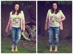 Boyfriend Jeans and Dip Dye Blazer #outfit #fashionblogger #curvy