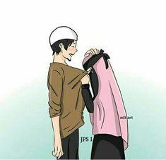 Love Cartoon Couple, Cute Couple Art, Anime Love Couple, Cute Couple Pictures, Cute Muslim Couples, Cute Couples Goals, Muslim Girls, Couple Goals, Islamic Wallpaper Hd