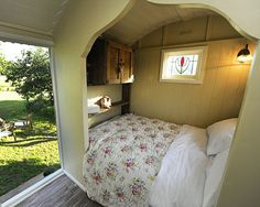 Buttercrambe Shepherd's Hut, Luxury Glamping near York, Yorkshire, UK. Unique Romantic Retreat for two Shepherds Hut, Tiny Spaces, Tiny House Living, Tiny House On Wheels, Little Houses, Tiny Houses, Trailers, Living Spaces, House Design