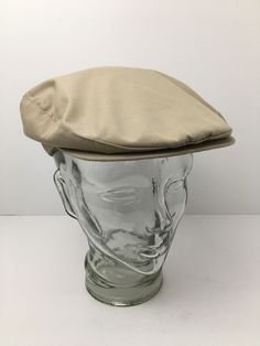 99e72cfd9cd80 Vintage Borsalino Flat Cap Lightweight Golf Hat Union Made USA Khaki Medium