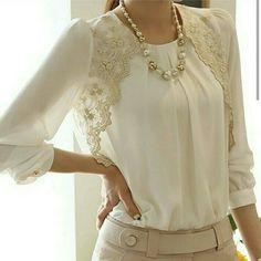 2014 Fashion New Women Embroidery Long-sleeved Chiffon blusas Lady Casual Lace Blouse Women's clothing S M L XL XXL Chiffon Shirt, Chiffon Tops, Lace Chiffon, Bluse Outfit, Mode Glamour, Summer Blouses, Mode Hijab, Mode Style, Casual Tops