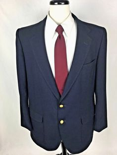 STAFFORD Blazer 44 Mens Navy Blue WOOL Gold Buttons Sport Coat Jacket 44R USA #Stafford #TwoButton