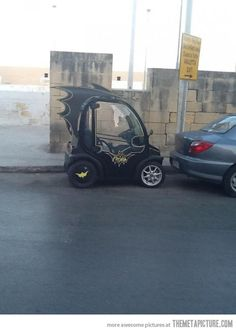 The Batmobile - one of the only times having a Smart Car is ok.