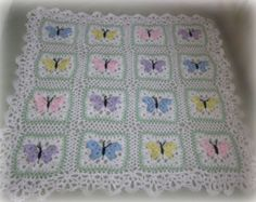 Butterfly crocheted baby afghan ETSY