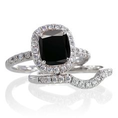 Black Diamond Bridal Set Rings