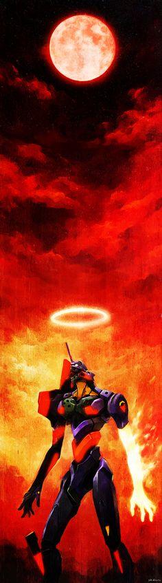 Красивый арт   Ева-01, Evangelion, арт, аниме, длиннопост