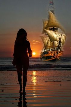 """She hears him say """"Brandy, you're a fine girl""""""""What a good wife you would be""""""""But my life, my love and my lady is the sea"""" """" Pirate Boats, Old Sailing Ships, Ship Paintings, Boat Art, Boat Painting, Fantasy Landscape, Tall Ships, Ship Art, Beautiful Sunset"""