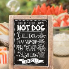 CUSTOMIZED Printable Party Sign  /  Backyard Hot Dog Bar Sign by PartyLikeKitty on Etsy https://www.etsy.com/listing/243669504/customized-printable-party-sign-backyard