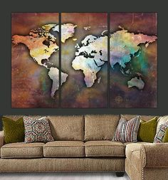 Three-piece panel World Map on Gallery Wrapped Canvas is very unique piece. Vintage, earth-toned distressed look with colorful but subtle hues makes the artwork ideal to coordinate with multiple color schemes. Set pictured is a huge 76 x 48, (across 3 24x48 panels when hung 2 apart) and is also available in smaller sizes (see drop-down menu) or custom sizing by request. Exclusively from Big Apple Canvas. Text on left side panel can be removed or changed to another quote of your choice. Also…