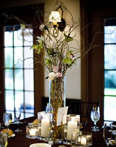 The tall centerpieces were very simple curly willow branches with wired floral's, and square hurricane candles. Curly Willow Centerpieces, Branch Centerpieces, Wedding Centerpieces, Wedding Decorations, Table Decorations, Centerpiece Ideas, Fall Wedding, Our Wedding, Dream Wedding