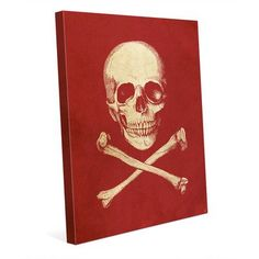 """Click Wall Art 'Skull and Crossbones' Graphic Art on Wrapped Canvas in Red Size: 30"""" H x 20"""" W x 1.5"""" D"""