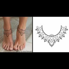 50 Glorious Foot and Ankle Tattoo Ideas That Are Truly Inspiring - Chic Tattoo Design Foot Ankle Elenapietropoli Blacklily Design Best Picture For cool tattoo For Y - Chic Tattoo, Tattoo Trend, Tattoo Designs Foot, Henna Designs, Neue Tattoos, Body Art Tattoos, Tatoos, Tattoo Bracelet, Foot Bracelet