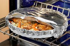 Herb roasted chicken and vegetables This was excellent….used bone in chicken breasts and removed the skin first.  Don't forget to turn back the foil before baking!