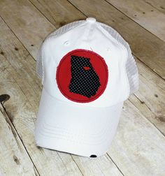 4dc0dd3f8f7 State of Georgia   Athens Love   Embroidered Red and Black Raggy Patch  Distressed White Trucker Hat   Cap