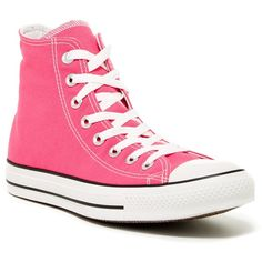 Converse Chuck Taylor High Top Sneaker (Unisex) ($40) ❤ liked on Polyvore featuring shoes, sneakers, pink glo, platform shoes, lace up shoes, converse trainers, high top sneakers and platform high tops