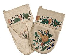 Cree Embroidered Caribou Hide Mittens - late 19th century