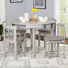 Compact Round Dining Set Home Living Room Furniture (Grey/Grey Linen) Round Dining Set, Kitchen Dining Sets, 5 Piece Dining Set, Small Dining, Dining Room Sets, Kitchen Tables, Kitchen Ideas, Nice Kitchen, Kitchen Tips