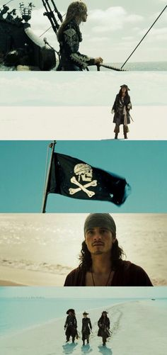 Pirates of the Caribbean: At World's End starting Johnny Depp as Captain Jack Sparrow, Orlando Bloom as Will Turner, and Keira Knightly as Elizabeth Bennett (2007)