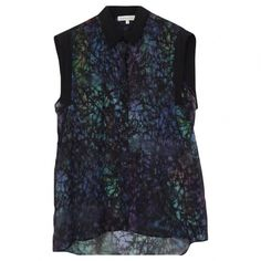 Pre-owned Sandro Multicolour Sandro Blouse (€60) ❤ liked on Polyvore featuring tops, blouses, multicolour, women clothing tops, multicolor blouse, long length tops, blue blouse, sheer top and sheer blouses